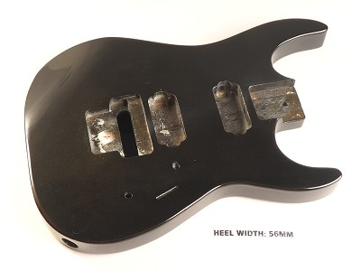 "Blem - ""Dinky"" style HH body cut for Floyd Rose Trem. Solid Poplar Gloss Black Sparkle"
