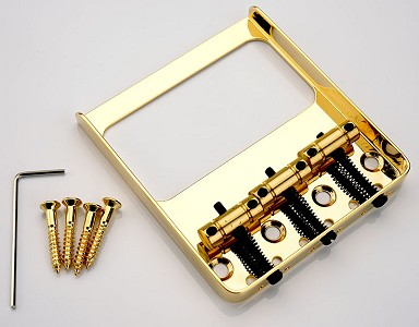 "Filter-Tron, GF""Tron-Fit Vintage GOLD Tele Bridge, Solid Brass Saddles"