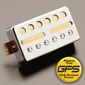 KP - GFS Gold Foil Single Coil Alnico Humbucker Shell, Chrome  - Kwikplug™ Ready