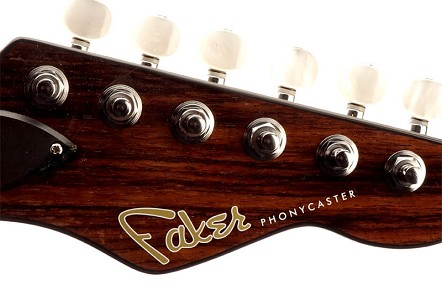 "Waterslide Decal ""Faker Phonycaster"" White Lettering for Dark Headstocks"