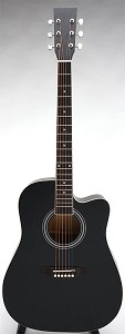 SPECIAL PURCHASE- Brand New Square Headstock Dreadnought Acoustic Cutaway-Satin Black