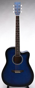 SPECIAL PURCHASE- Brand New Square Headstock Dreadnought Acoustic Cutaway-Blueburst