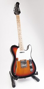 Sunburst Thinline Tele Style Electric Guitar - With F-Hole and Bindings