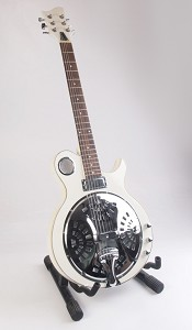 White Dobro Style Resonator Electric Guitar - Firebird Pickup