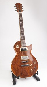 Quilt Top LP Style Guitar with Abalone Inlays and Cream Bindings