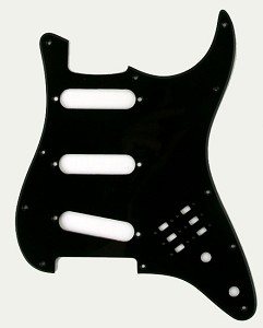 Single Ply Black BHM Style SSS Pickguard for Strat