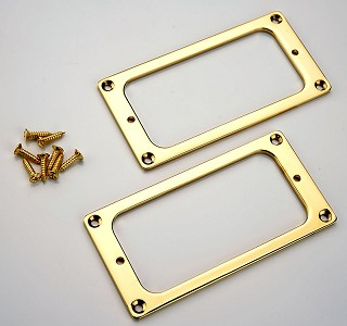 Gold Metal GF'Tron fit Pickup Trim Rings, matching pair with screws
