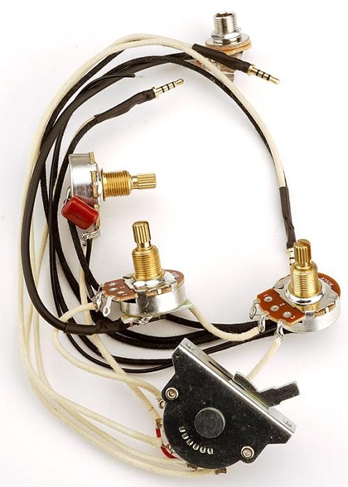 kwikplug premium harness - fits strat� harness vtt 5-way switch 250k pots,  black and white