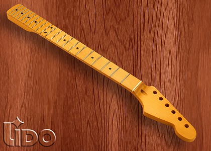 Lido Hard Rock Maple 21 Fret Strat Neck, Maple Fingerboard, Vintage Amber
