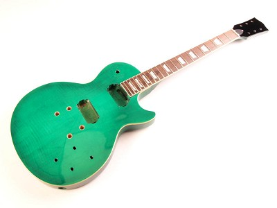 Glued-In Neck, Flamed Top, LP Style- Fully Assembled and Finished - Green Transparent