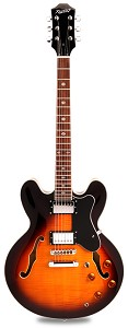 NEW! PRO900 Semi Hollow, Coil Taps, Flamed Maple Kwikplug Alnico Fat Pats Vintage Sunburst