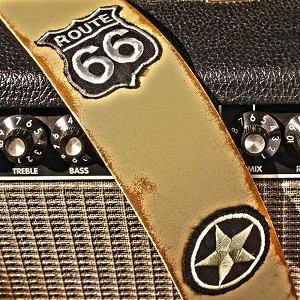 Slickstraps Embroidered Patch Leather Strap- Route 66 - Ivory