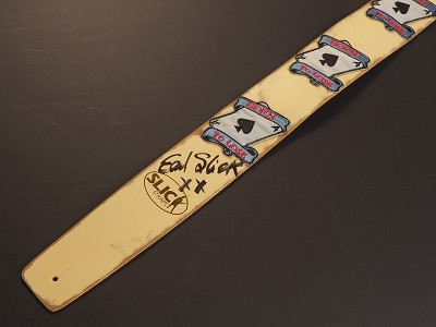 Handmade Slickstraps - Earl Slick Autographed! Embroidered Patch Leather Strap- Born to Lose - Ivory