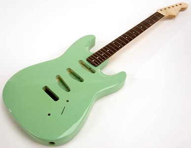 SPECIAL PURCHASE! Surf Green Strat Style GLUED-IN Setneck, 3 single coils TOP MOUNT, Rosewood F/B