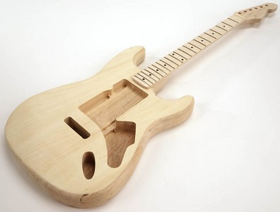 SPECIAL PURCHASE! Unfinished Strat Style GLUED-IN Setneck, Swimming Pool Rout TOP, Maple F/B