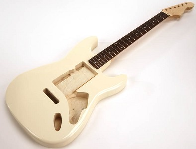SPECIAL PURCHASE! Ivory Strat® Style GLUED-IN Setneck, Swimming Pool Rout TOP, Rosewood F/B