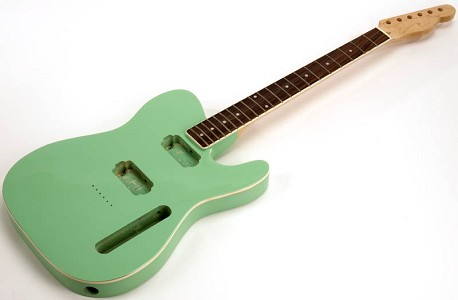 SPECIAL PURCHASE! BOUND Surf Green Tele Style GLUED-IN Setneck, 2 Humbucker Rosewood F/B