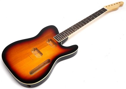 SPECIAL PURCHASE! BOUND Sunburst Tele Style GLUED-IN Setneck, 2 Humbucker Rosewood F/B