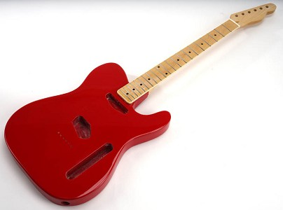 SPECIAL PURCHASE! Rocket Red Double-Cutaway GLUED-IN Setneck, Traditional Single Coil Maple F/B