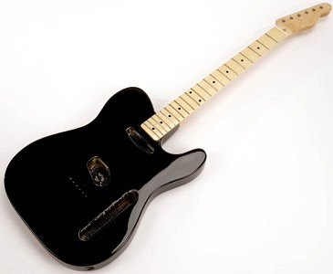 SPECIAL PURCHASE! Black Tele® Style GLUED-IN Setneck, Traditional Single Coil Maple F/B