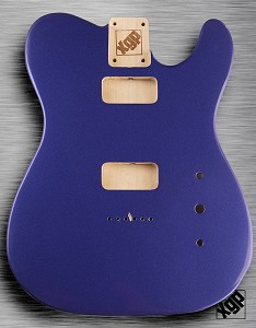 Tele Body cut for 2 FILTER'TRON, GF'Tron White Poplar, Cobalt Blue