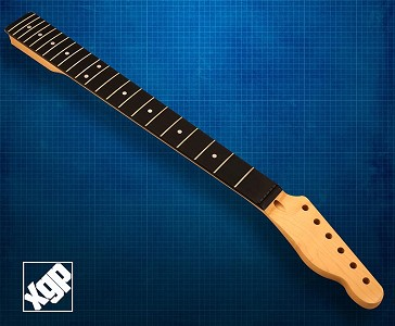 XGP Premium Hard Rock Maple 22 Fret Tele Neck, Rosewood Fingerboard