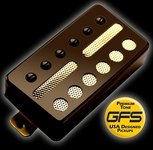 GFS Gold Foil Single Coil Black Neck 6.0K Ferrite Humbucker Shell