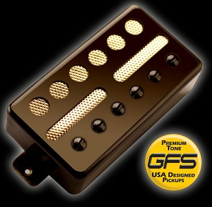 GFS Gold Foil Humbucker Black Bridge 6.6K Ferrite