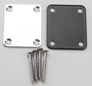 Fender® style neckplate, screws and black mount plate