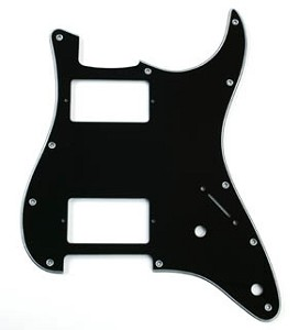 2 Humbucker Pickguard 3-Ply Black - fits Strat®