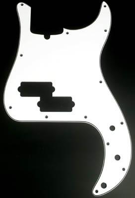 P Bass 3 Ply Pickguard White Black