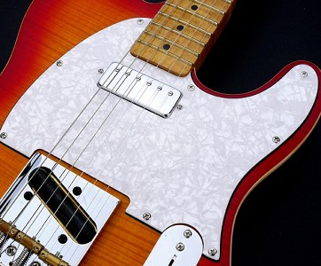 Pickguard custom - Fits Tele® - cut for Neck Mini Humbucker White Pearl