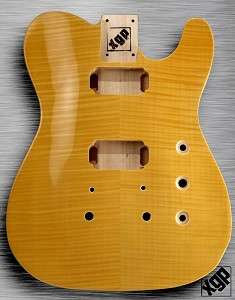 XGP Arched Top Tele Body Flamed Maple 2H Vintage Natural