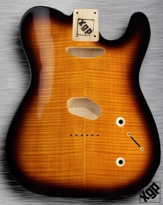 XGP Arched Top Tele Body Flamed Maple 2 Tele Pickups Sunburst