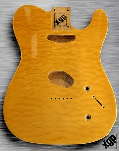 XGP Arched Top Tele Body QUILT Maple 2 Tele Pickups Vintage Natural