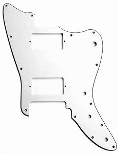 XGP 3 Ply White Trem Offset Pickguard- Fits Strat® Trems - 2 Humbuckers