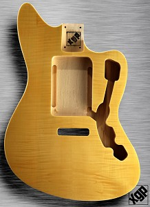 XGP Offset Body, Fits Strat® Tremolo  Double Bound Flamed Maple Vintage Natural
