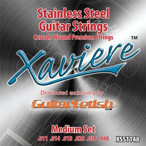Case of 12 Sets- Xaviere Stainess Steel Strings Medium Gauge